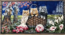 MINT Vtg 1960s Plush Crushed Velvet Wall Hanging ITALY Tapestry KITTENS Cat Rug