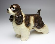 Chocolate and Tan Tricolor Cocker Spaniel Porcelain Dog Figurine New Japan Repro