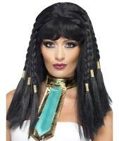 Mujer Cleopatra Disfraz Peluca negra con trenzas Reina Egipcia Peluca de Smiffys