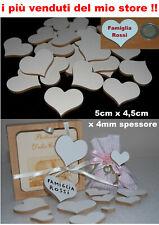 50 cuori in legno di mdf bianco da un lato, 3x2,5 cm  matrimonio, bomboniera
