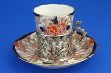 GRAFTON Demitasse IMARI Coffee Cup/Can & HM SILVER CHERUB Holder Chester 1908