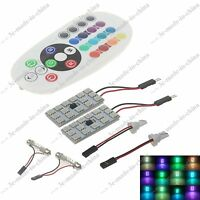 1 Pair T10 Festoon RGB 16 Colors Changing 15 LED Interior Light +Remote Control