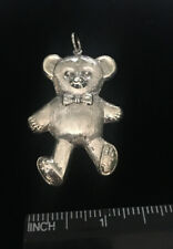 "Large Vtg Sterling Teddy Bear Pendant 2.5"" , New Condition, Free Shipping!"