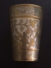 Antique Heavyweight Indian Yellow And White Metal Beaker
