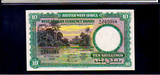 BRITISH WEST AFRICA P9a 10 Shillings 1958 Almost Uncirculated River Scene