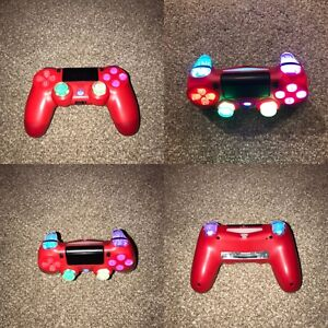 Red PS4 Wireless Custom LED Controller✨