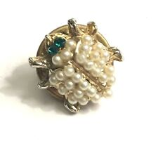 Beetle ladybug pearl green rhinestone eyes vintage lapel pin