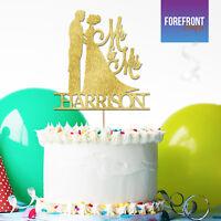 Personalised MR & MRS WEDDING glitter cake topper Birthday/Wedding/Couple gift