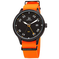 New Men's Joshua & Sons JX147BK Orange Quartz Date Silicone Strap Sports Watch