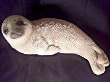 """Sandicast Harp Seal Pup 8"""" Signed Sandra Brue Paperweight Door Stop 1981 Vintage"""