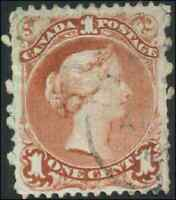 Canada #22 used F-VF 1868 Queen Victoria 1c brown red Large Queen CDS CV$140.00