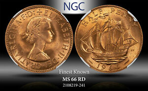 1966 GREAT BRITAIN 1/2 PENNY NGC MS 66 RD FINEST KNOWN WORLDWIDE