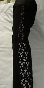 LADIES BLACK LEGGINGS + SIDE LACE INSERTS GOOD QUALITY EVENING PARTY FESTIVAL A2