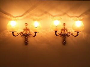 Pair of Vintage 1950s gold ornate wall lights Hand blown etched glass shades