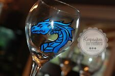 custom Hand Painted wine glasses- Any theme- Dragon- Medieval- Celtic