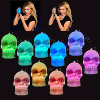FLASHING MULTI-COLOR CHANGING LED SKULL BEAD NECKLACE HALLOWEEN RAVE PIRATE GOTH