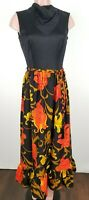 Vintage 60s 70s Boho Disco Colorful Print Maxi Dress Floral ILGWU Union Large 12