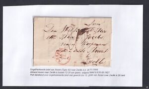 NETHERLANDS DRENTHE 1844 STAMPLESS FOLDED LETTER ASSEN TO ZWOLLE W/ CONTENTS