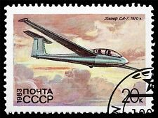 ART PRINT POSTER POSTAGE STAMP USSR GLIDER AIRCRAFT FLIGHT SOVIET UNION LFMP0556