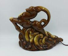 Vintage Art Nouveau Hand Glazed Ceramic Ram Gazelle TV Lamp Light brown/ Carmel