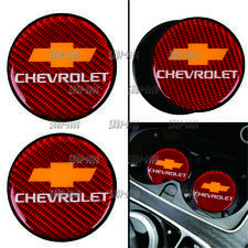 2Pcs Chevrolet Carbon Fiber Car Cup Holder Pad Water Cup Slot Non-Slip Mat