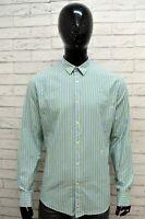 Camicia a Righe Uomo TRUSSARDI Taglia XL Maglia Shirt Man Verde Cotone Colletto