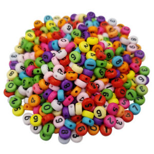 50Pcs 7mm Acrylic Mixed Number DIY Loose Beads For Jewelry Making Pendant