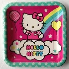 Hello Kitty Balloon Rainbow Square Lunch Plates 8 Ct Birthday Party Supplies