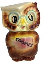 Vintage 1958 AMERICAN BISQUE Collegiate Wise OWL COOKIE JAR USA 50's Mid century