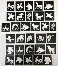30 All Unicorns 🦄 stencils  top up ur glitter tattoo kit face painting Airbrush