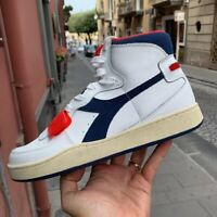 Diadora Mi Basket Used Sneaker Uomo 501.174766 C0351 White Blu Red