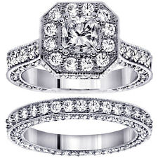 4.45 Ct Princess Cut Designer Engagement Bridal Set in Platinum New