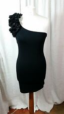 Looks New MISS SELFRIDGE Off One Shoulder Black Bodycon Dress & Ruffle Size 10