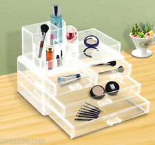 Transparent Cosmetic Organizer Makeup Storage Box Jewelry Case Display Drawer