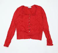 Laura Ashley Womens Size 14 Cotton Blend Red Cardigan (Regular)