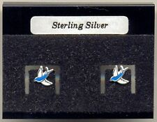 Bird Swallow Blue Sterling Silver 925 Studs Earrings Carded