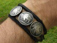 Buffalo Indian Nickel coin wrap bracelet Bison leather nice gift men women