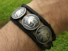 Buffalo Indian Nickel coin wrap bracelet Bison leather nice gift men women
