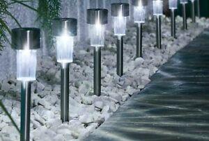 10 PACK WHITE LED SOLAR GARDEN MARKER OUTDOOR STAKE LIGHTS, PATH, BOUNDARY