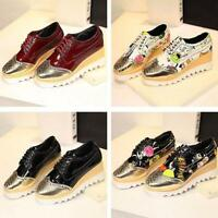 Womens Mix Color Wedge Platform  Heel Lace Up Oxford Casual Shoes Pumps Creepers