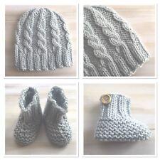 Hand Knit Newborn Baby Blue Beanie Hat Booties, Australian Merino Wool
