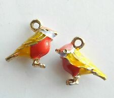 4pcs-3D enamel yellow Bird charm 17mmX14mm-more colors
