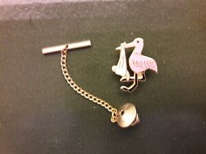 Baby Stork Tie Tack Special Delivery Pin,  pink & white enamel on brass base.