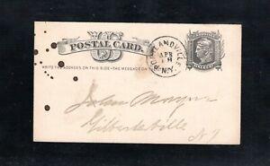 1881 Fancy Cancel Portlandville, NY. Sc #UX5 Postcard to Gilbertsville, NY.