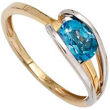 Echte Edelstein-Ringe im Cluster-Stil mit Blautopas