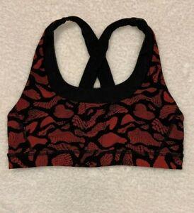 Lululemon Run Your Stuff Sports Bra Strappy Mini Warp True Red Black Size 10/L