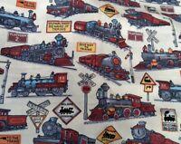 CLASSIC OLD TRAIN STEAM ENGINE LOCOMOTIVE 100% cotton poplin fabric by the metre