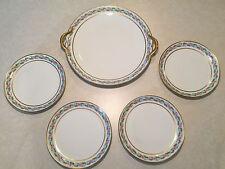 Vintage/Antique 5-Piece Set GDA LIMOGES FRANCE Porcelain CAKE PLATTER & 4 PLATES