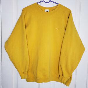 Vintage Nike Crewneck Sweatshirt Embroidered Swoosh Yellow Mens Medium USA Made
