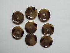 8pc 25mm Caramel Brown /& Black Feathered Effect Mock Horn 4 Hole Button 5563